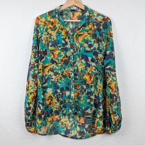 Kut from the Kloth Floral Button Down Sheer M